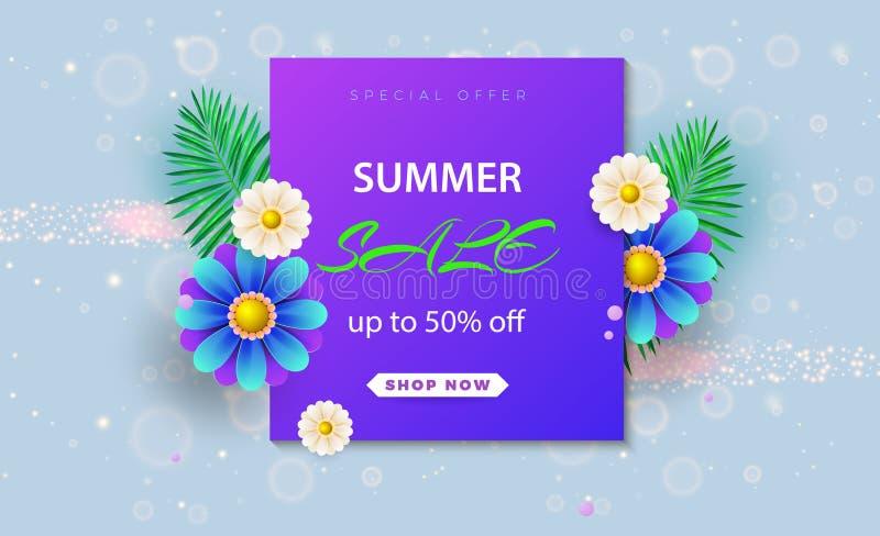 Bandeira da venda do verão com flores de papel em um fundo claro A bandeira é ideal para promoções, compartimentos, anunciando ilustração royalty free