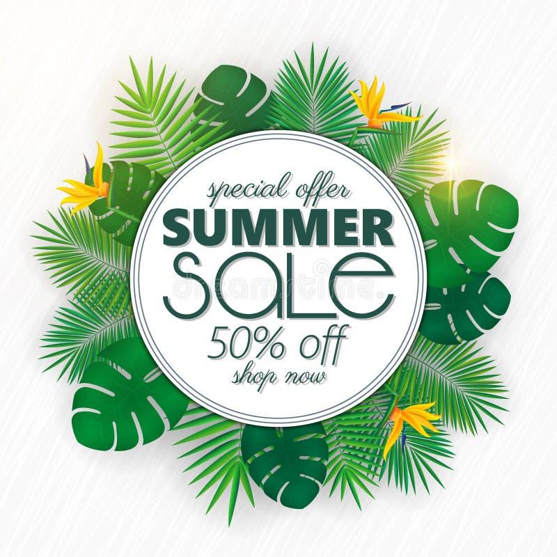 A bandeira da venda do verão, o molde do cartaz com folhas de palmeira e a selva folheiam Fundo tropical floral do verão ilustração stock