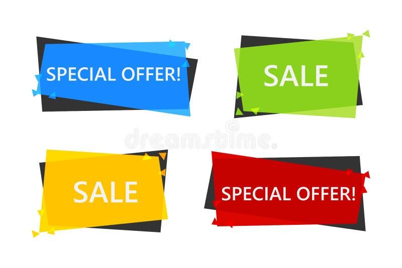 Bandeira da venda da oferta especial para seu projeto festival do evento do afastamento do disconto Estilo mínimo Preço da etique ilustração do vetor