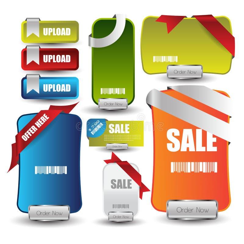 Bandeira da venda ou do disconto da Web para a Web com botões ilustração do vetor