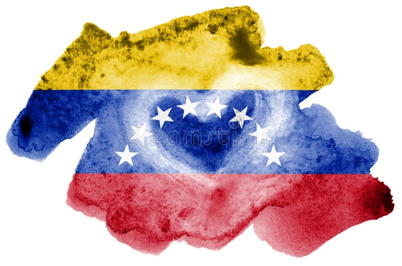 A bandeira da Venezuela é descrita no estilo líquido da aquarela isolada no fundo branco fotografia de stock royalty free