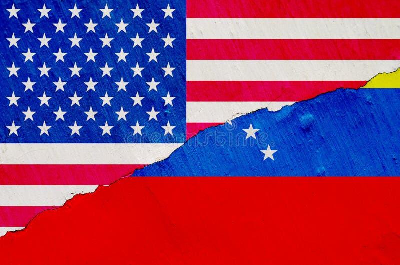 Bandeira da Venezuela e dos EUA na textura do fundo da pintura gasto com um quadro da quebra em geral ilustração royalty free