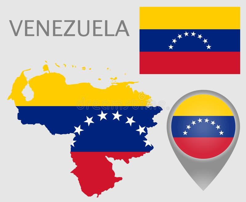 Bandeira da Venezuela, mapa e ponteiro do mapa ilustração royalty free