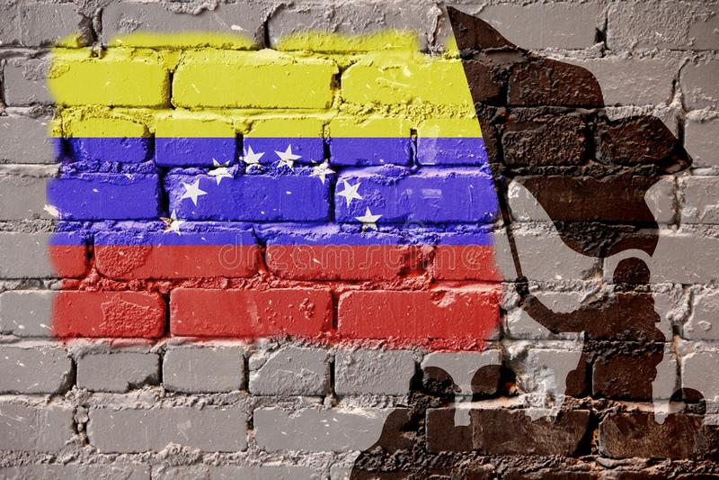 Bandeira da Venezuela na parede fotografia de stock royalty free