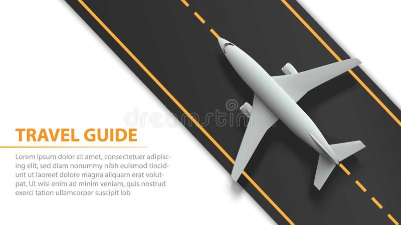 Bandeira da viagem aérea com plano na tira da pista de decolagem - projeto das férias e de conceito do curso Bandeira com avião e ilustração royalty free