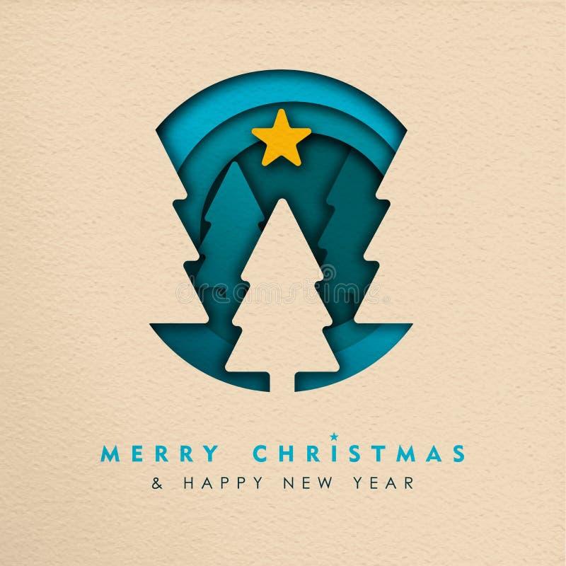 Bandeira da Web da árvore do corte do papel do Natal e do ano novo ilustração do vetor