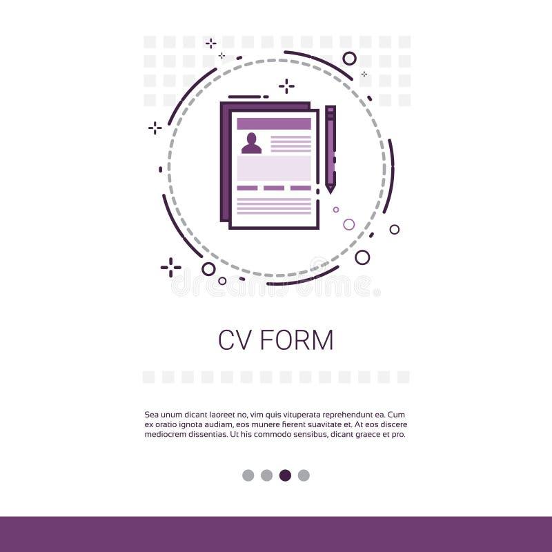Bandeira da Web da busca da vaga do candidato do resumo do formulário do CV com espaço da cópia ilustração do vetor