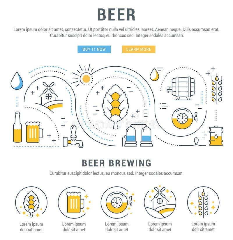 Bandeira da Web da cerveja ilustração do vetor
