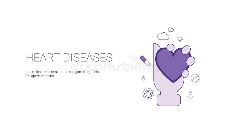 Bandeira da Web das doenças cardíacas com conceito da medicina da cardiologia do espaço da cópia ilustração royalty free