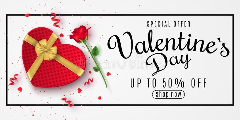 Bandeira da Web do cumprimento do dia de Valentim para a venda Vista superior Composição romântica com a caixa de presente de cor ilustração royalty free
