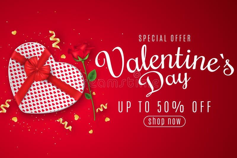 Bandeira da Web do dia de Valentim para a venda Vista superior Composição romântica com a caixa de presente de coração e de flor  ilustração do vetor