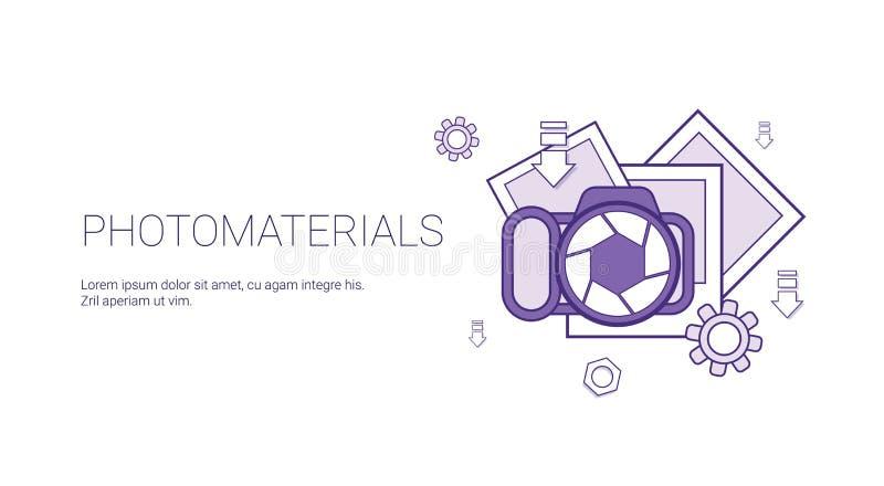 Bandeira da Web do molde do conceito dos dados dos meios dos materiais da foto com espaço da cópia ilustração royalty free