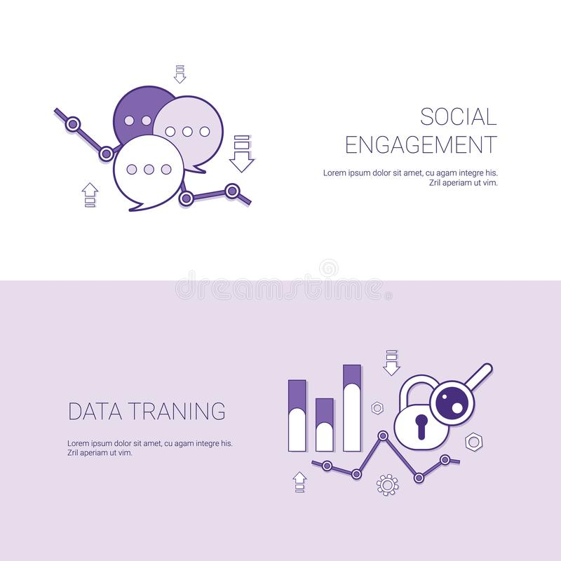 Bandeira da Web do molde do treinamento do acoplamento social e dos dados com espaço da cópia ilustração do vetor