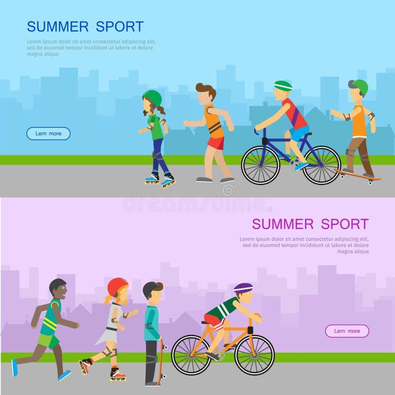 Bandeira da Web do vetor do esporte do verão no projeto liso ilustração stock