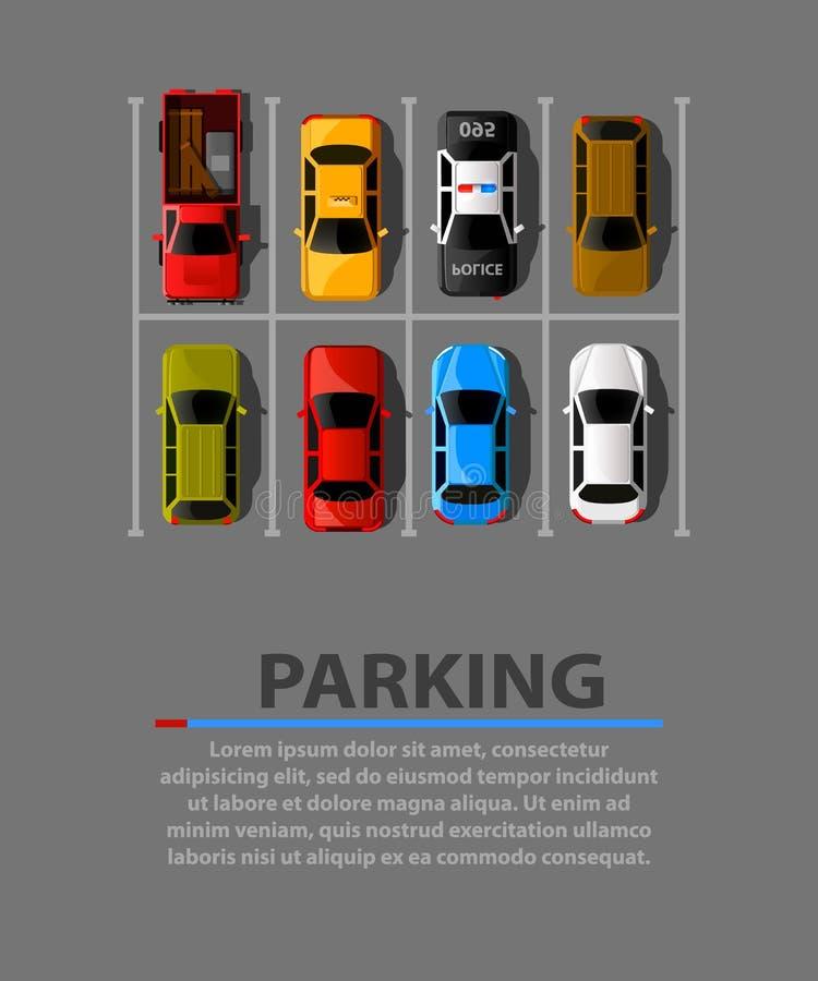 Bandeira da Web do vetor do estacionamento da cidade Lugares de estacionamento da falta Muitos carros em um estacionamento aglome ilustração stock