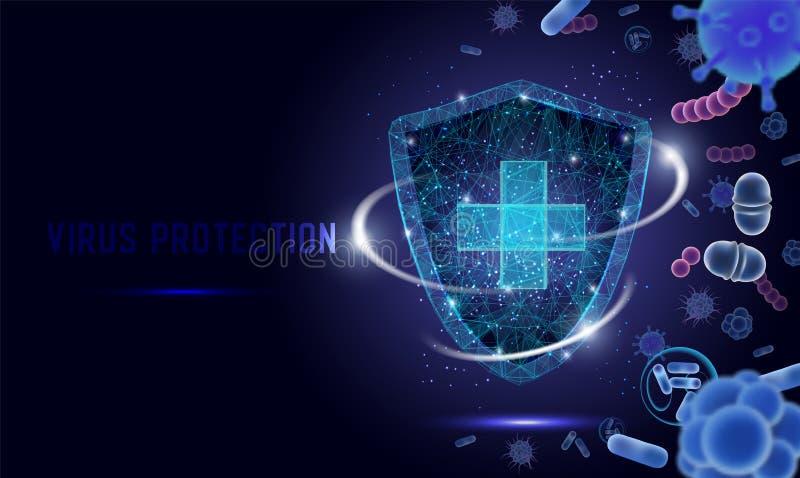 Bandeira da Web do vetor da proteção do vírus, molde da página do Web site ilustração royalty free