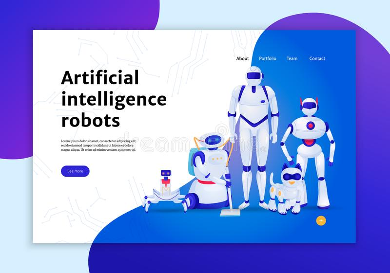 Bandeira da Web dos robôs da inteligência artificial ilustração royalty free