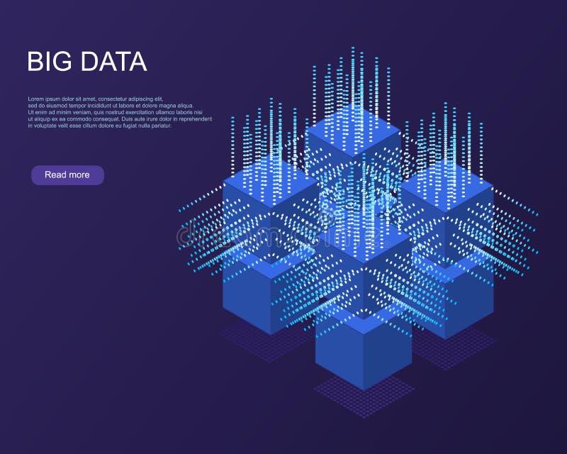 Bandeira da Web da tecnologia de Digitas Dados grandes ilustração do vetor