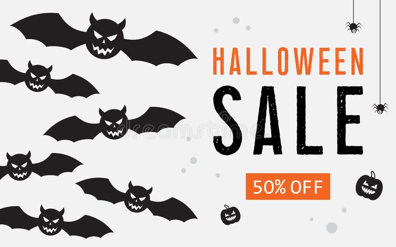 Bandeira da Web da venda de Dia das Bruxas com balões ilustração stock