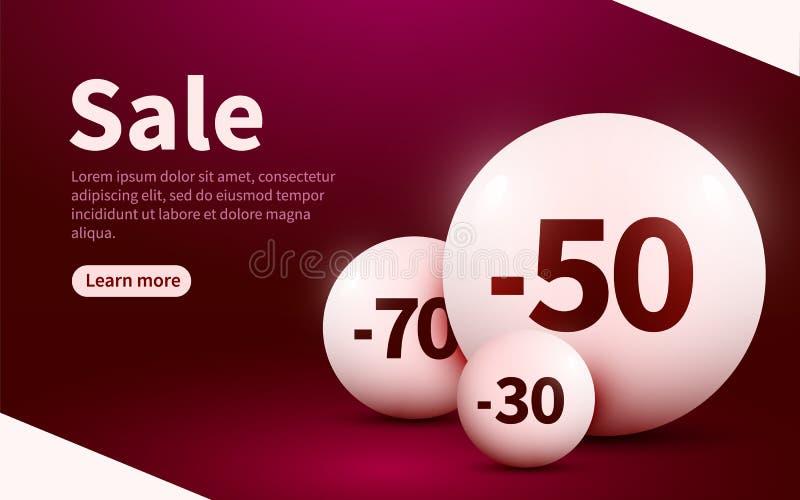 Bandeira da Web da venda Esferas com porcentagem de desconto P?gina da aterrissagem ilustração do vetor