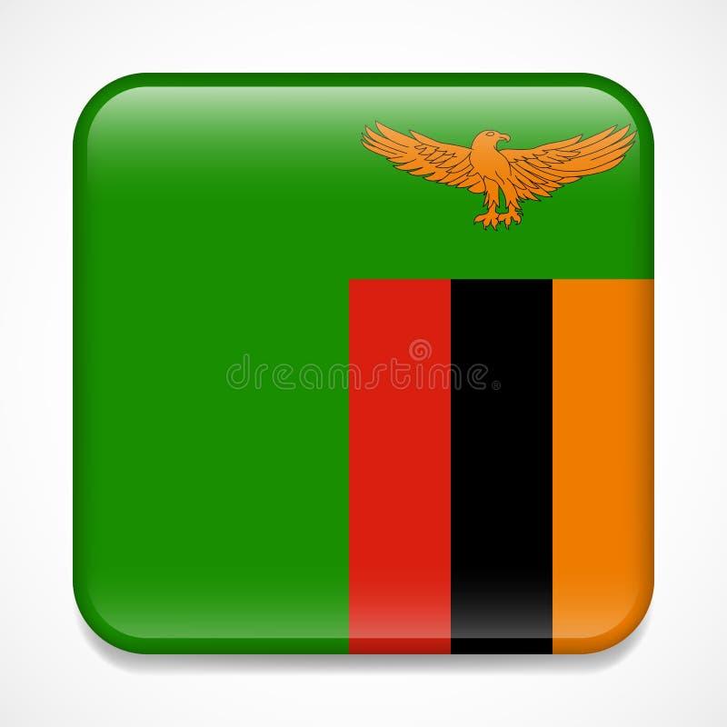 Bandeira da Zâmbia Crachá lustroso do quadrado imagens de stock royalty free