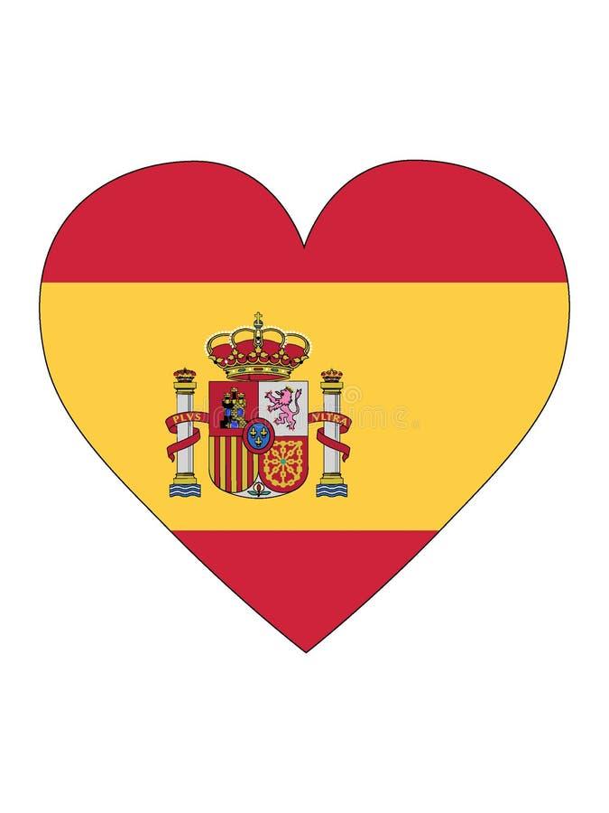 Bandeira dada forma coração da Espanha ilustração do vetor