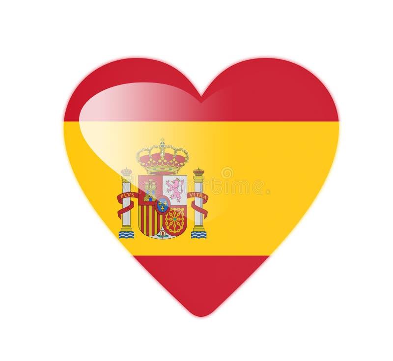 Bandeira dada forma coração da Espanha 3D ilustração royalty free
