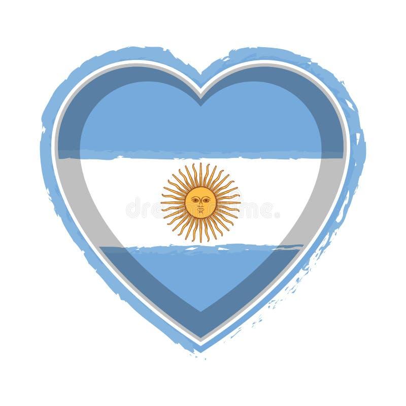 Bandeira dada forma coração de Argentina ilustração royalty free