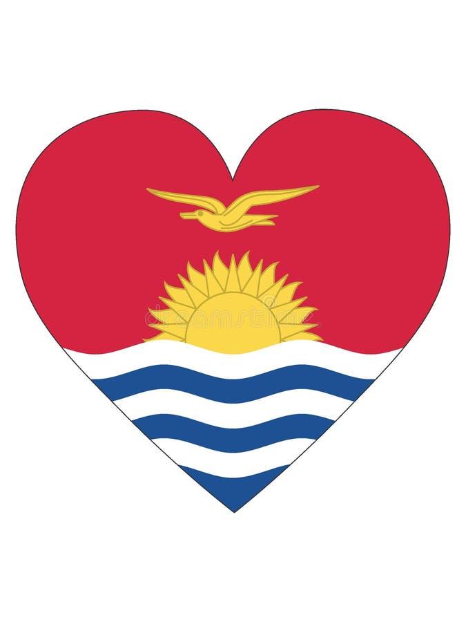 Bandeira dada forma coração de Kiribati ilustração stock