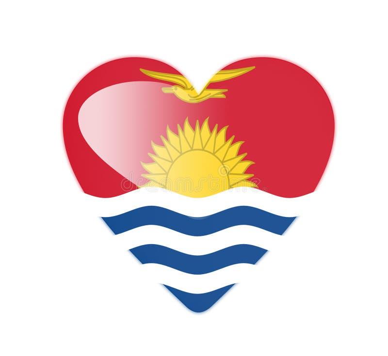 Bandeira dada forma coração de Kiribati 3D ilustração stock