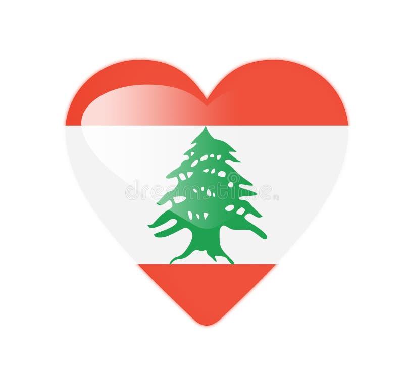 Bandeira dada forma coração de Líbano 3D ilustração do vetor