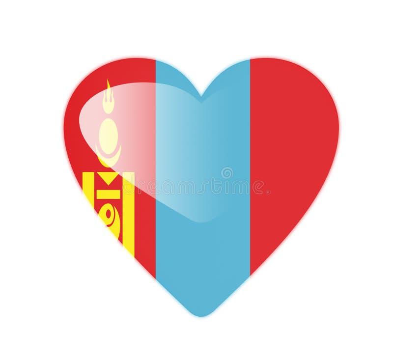 Bandeira dada forma coração de Mongólia 3D ilustração do vetor