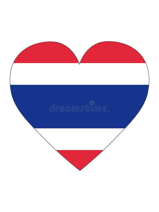 Bandeira dada forma coração de Tailândia ilustração stock