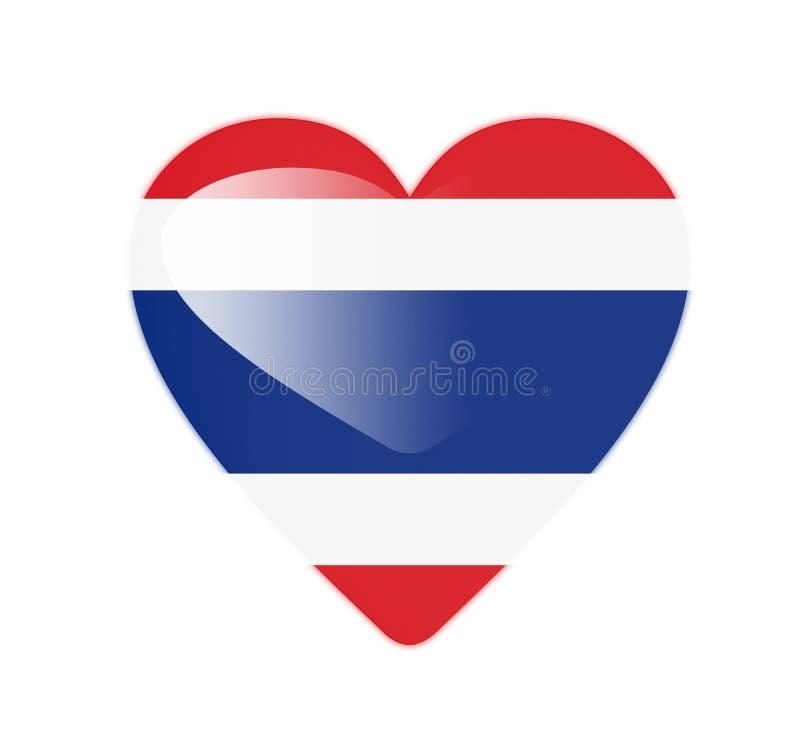 Bandeira dada forma coração de Tailândia 3D ilustração do vetor