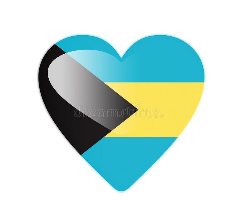 Bandeira dada forma coração do Bahamas 3D ilustração royalty free