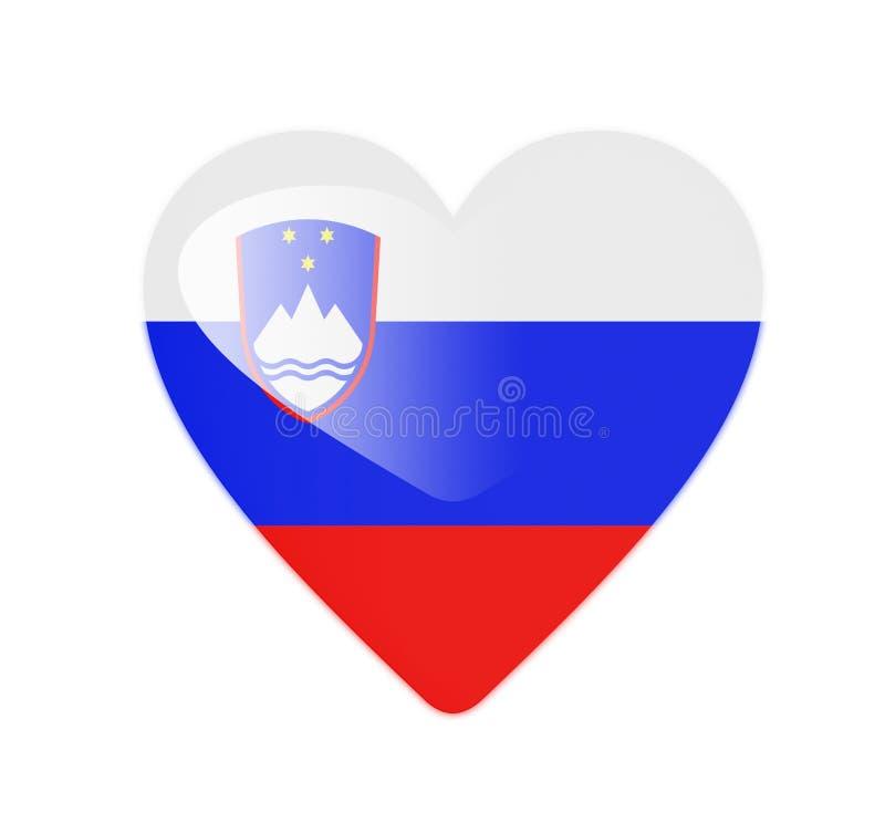 Bandeira dada forma coração do Eslovênia 3D ilustração royalty free