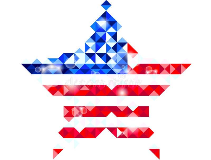 Bandeira dada forma estrela dos E.U. ilustração royalty free