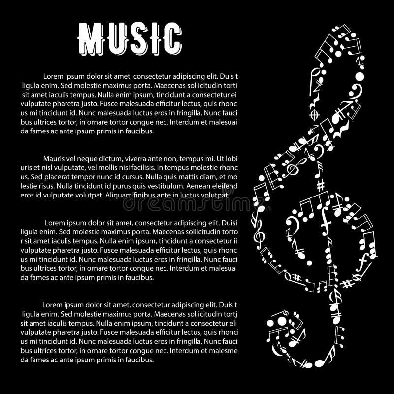 Bandeira das artes da música com clave de sol e notas ilustração royalty free