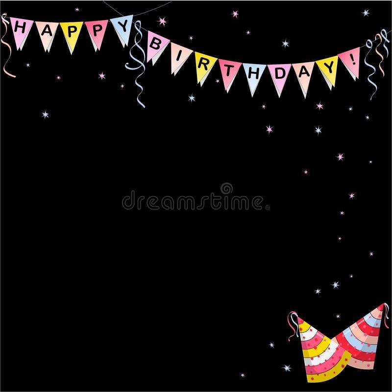 Bandeira das bandeiras com cor das letras do feliz aniversario ilustração stock