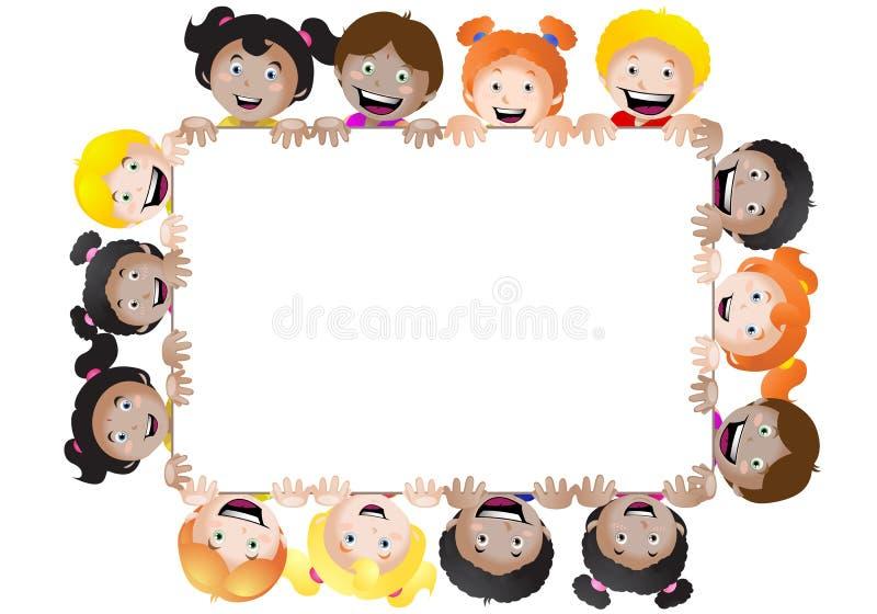 Bandeira das crianças multinacionais ilustração do vetor