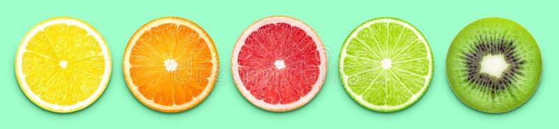 Bandeira das fatias do fruto fotografia de stock royalty free