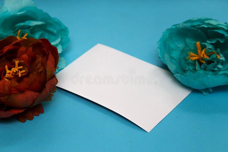 Bandeira das flores Background flores, caderno em um pálido - fundo azul imagem de stock royalty free