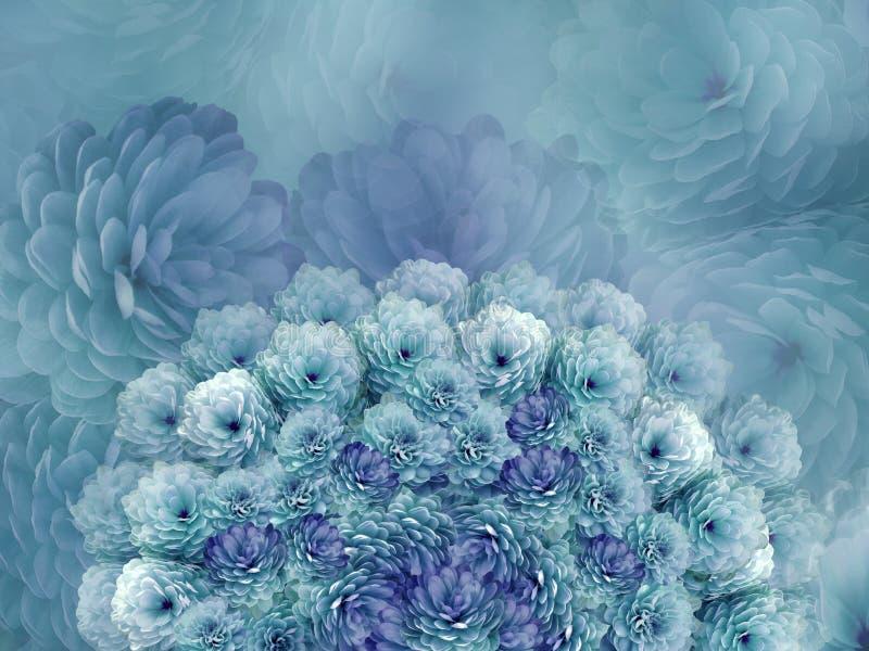 Bandeira das flores Background A turquesa floresce o crisântemo colagem floral Composição da flor imagem de stock