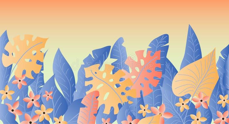 Bandeira das folhas da banana e do Monstera e flores tropicais, bandeira do verão ilustração royalty free