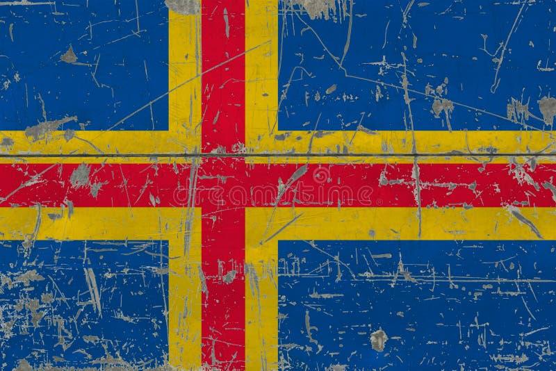 Bandeira das ilhas de Aland do Grunge na superfície de madeira riscada velha Fundo nacional do vintage imagens de stock royalty free