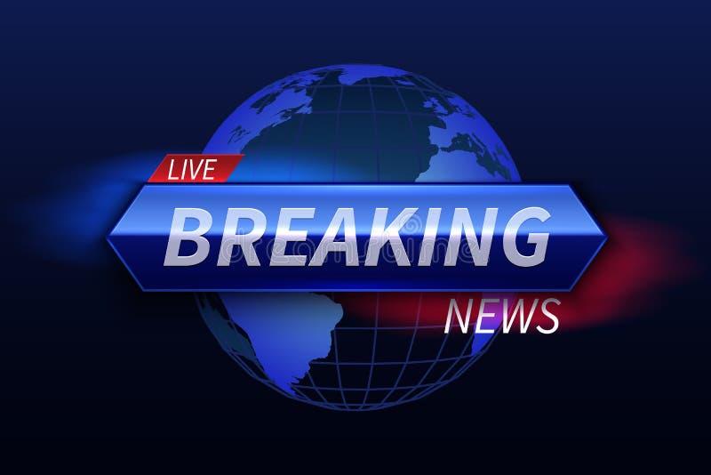 Bandeira das notícias de última hora Título vivo do estúdio da tevê Gráficos de vetor da mostra da transmissão ilustração stock