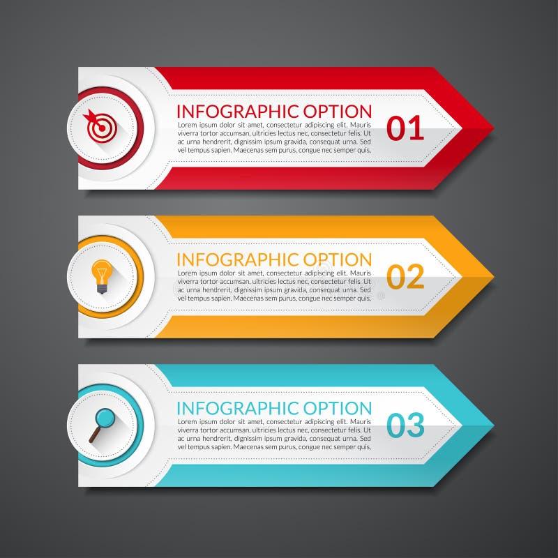 Bandeira das opções do número da seta do projeto de Infographic ilustração royalty free