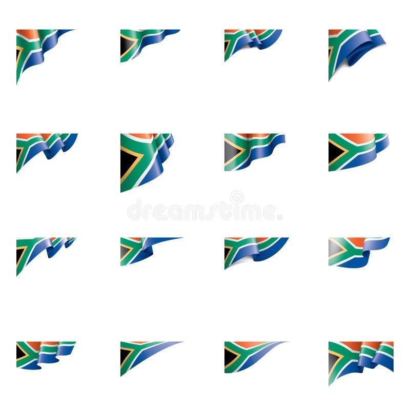 Bandeira de África do Sul, ilustração do vetor em um fundo branco ilustração royalty free