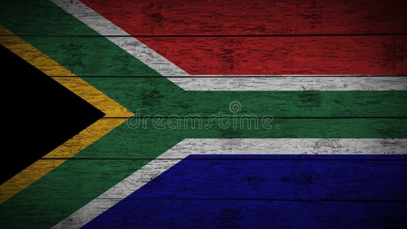 A bandeira de África do Sul pintou em placas de madeira idosas bandeira de madeira de África do Sul Fundo abstrato da bandeira gr fotografia de stock