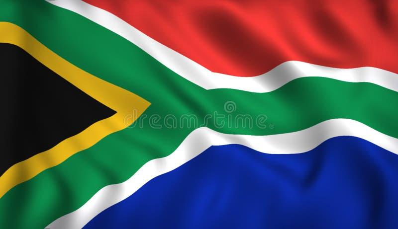 Bandeira de África do Sul que acena no vento ilustração royalty free